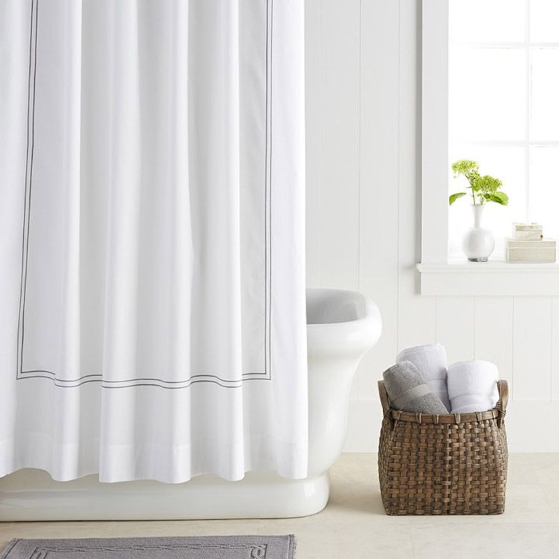White Stylish Shower Curtain For A Modern Bathroom Design