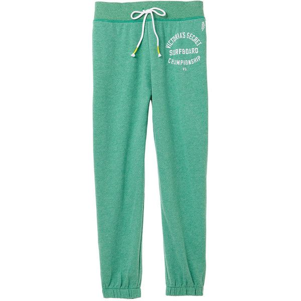 Sweatpants ($53) ❤ liked on Polyvore featuring activewear, activewear pants, sweat pants, victoria secret sportswear, fleece sweat pants, green sweatpants and victoria's secret
