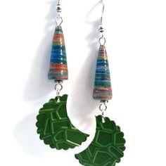 Boucles d'oreilles pendantes nespresso - lunes - perles en papier multicolores - vertes
