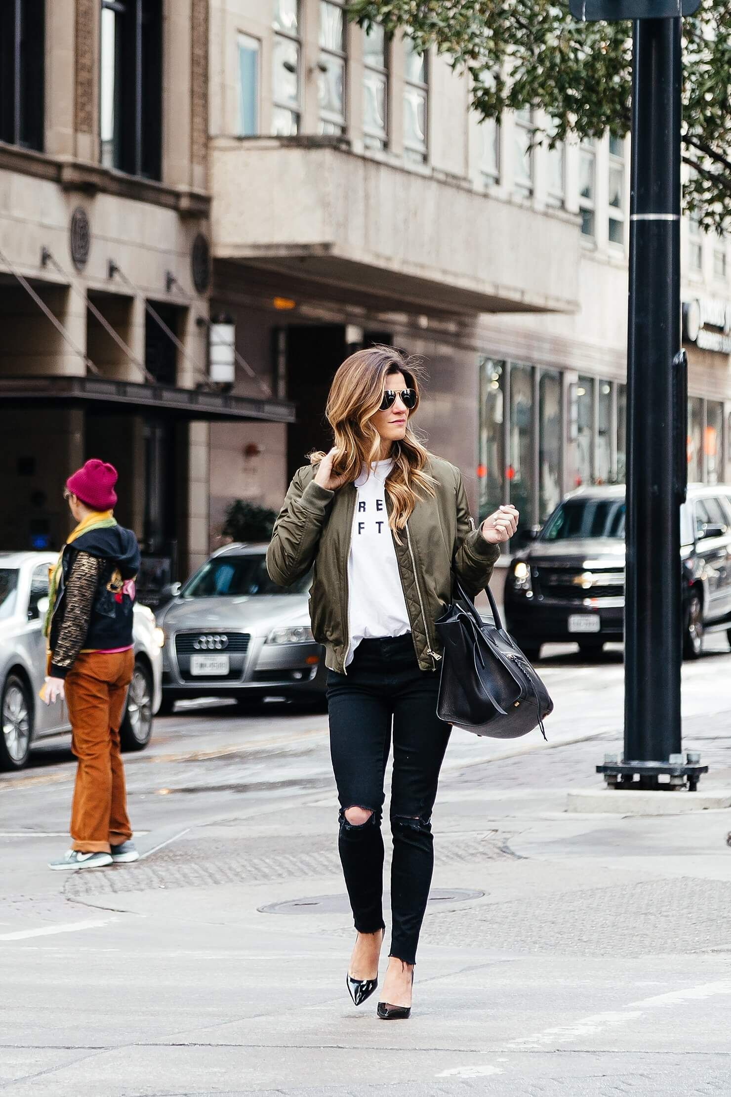 b299c7f7395 ... 30+ outfit ideas with black jeans! how to wear a bomber jacket, topshop  olive green bomber jacket, sincerely jules dream