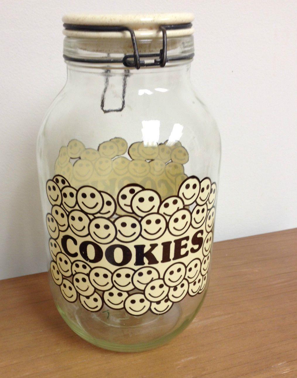 Vintage 3L Glass  Cookie Jar Carlton Glass USA Smiley Faces.