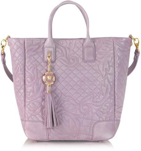 ea29fb775d5 Versace Purple Vanitas Mauve Embossed Leather Tote Wshoulder Strap #versace