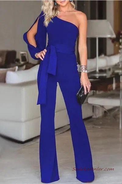 2020 Abiye Tulum Modelleri Saks Mavi Tek Omzu Acik Tek Kol Yirtmacli Tulum Jumpsuit For Evening Kiyafet Kadin Pantolonlari Tulum