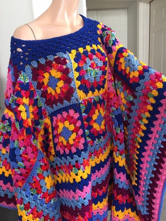 Patch work crochet poncho/ Granny square blanket poncho/ RESERVED
