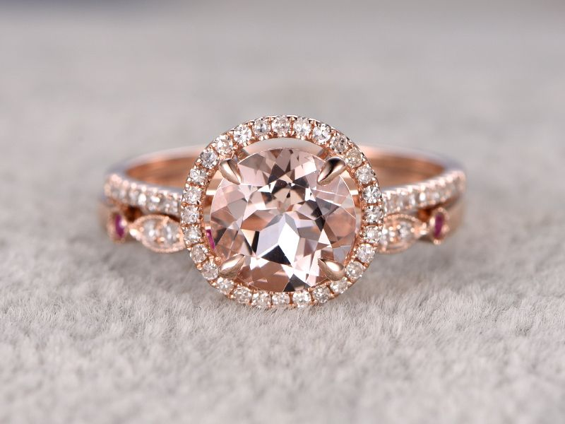 1.8 Carat Round Morganite Wedding Set Diamond Bridal Ring 14k Rose Gold  Ruby Art Deco Curved