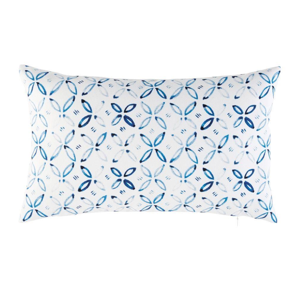 Weisses Outdoor Kissen Mit Blauen Grafischen Motiven 30x50