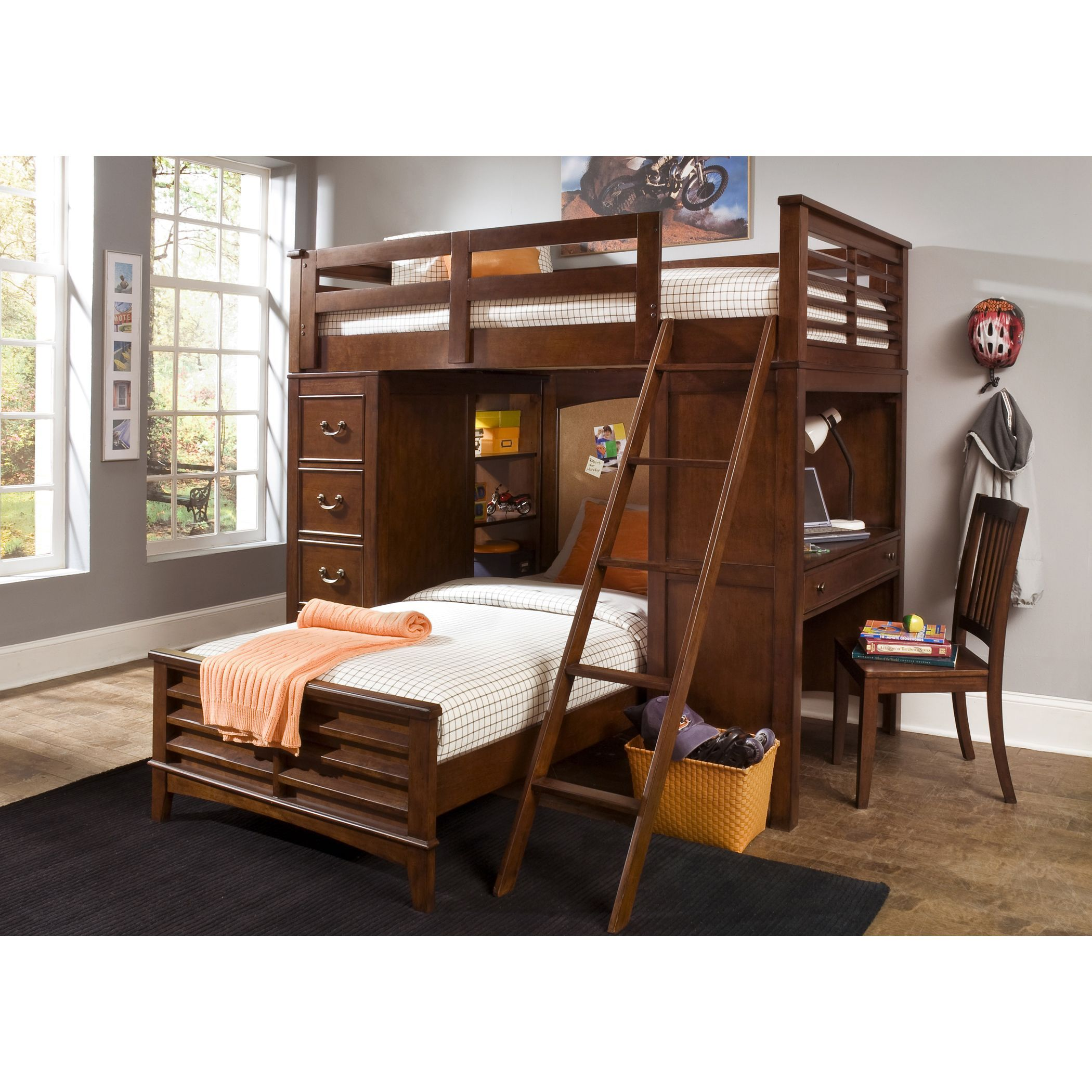 Liberty Chelsea Square Twin Over Twin Loft Bunk Bed With Cork Board