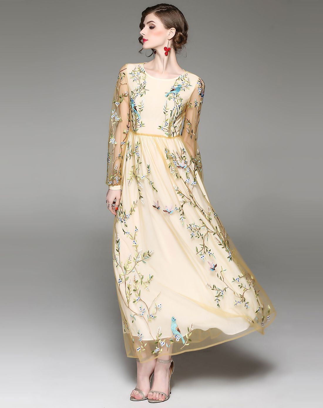 12bcd9062f4f  VIPme Apricot Embroidery Gauze Ankle Length Dress ❤ Get more outfit ideas  and style inspiration from fashion designers at VIPme.com.