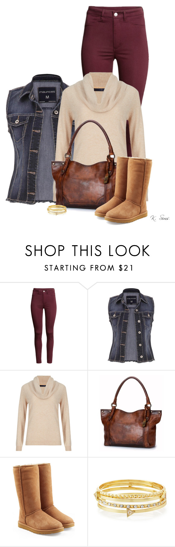 """""""Uggs aren't my favorite, but..."""" by ksims-1 ❤ liked on Polyvore featuring H&M, maurices, M&S Collection, Frye, UGG Australia and Lydell NYC"""