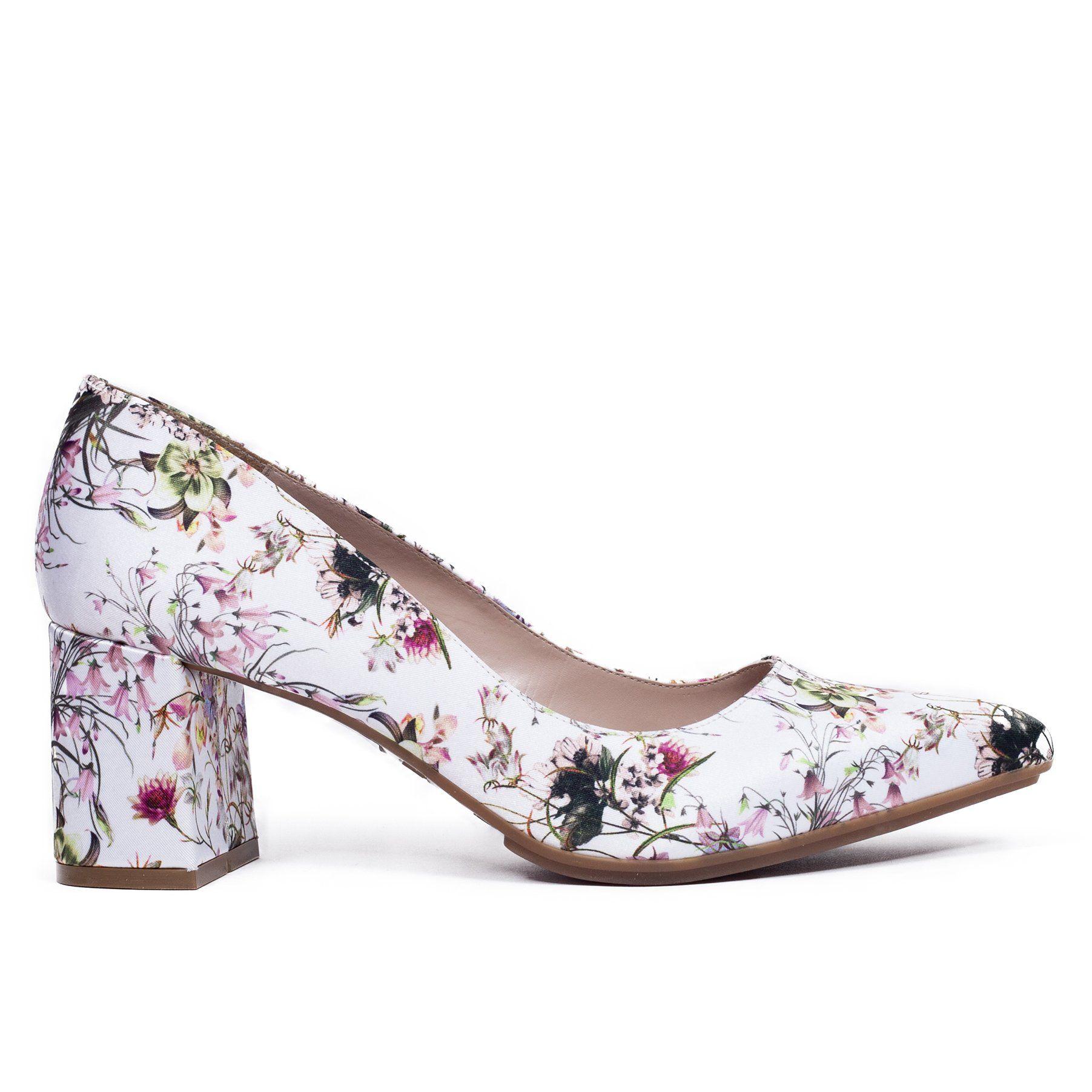 Zapato de salón tacón bajo mujer BLANCO FLORES – miMaO Spain