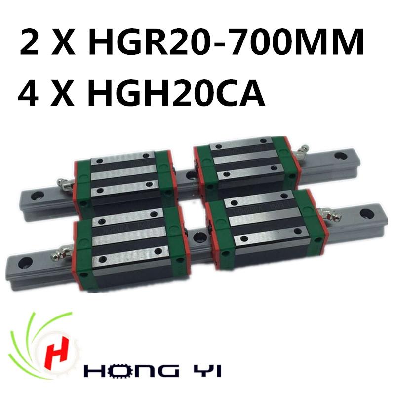 199.00$  Watch now - http://ali8fw.worldwells.pw/go.php?t=32650283550 - 2pcs HIWIN Carril Linear Rail 700mm Linear rails HGR20,+ 4pcs Rail Linear Block HGW20CA HGH20CA for CNC 199.00$