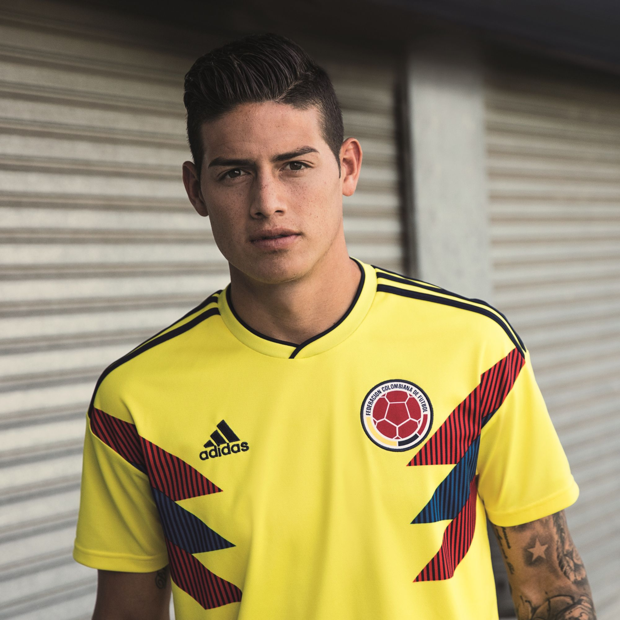 release date 9d4b1 43c72 James Rodriguez in the adidas 2018 Colombia home jersey ...