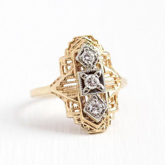 Beautiful Vintage Art Deco Era 10k Yellow White Gold Diamond Shield Ring This Lovely Ring Features Three Sparkly D Vintage Art Deco Lovely Ring Art Deco Era