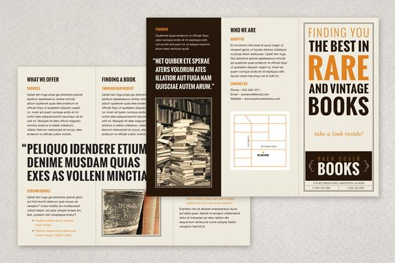library brochure templates - vintage bookstore brochure template the soft beige