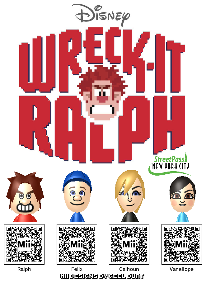 Get Your Wreck-It Ralph Mii Codes Here