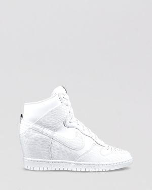 hot sale online 48dee 0d5fa White Nike High Top Wedge Sneakers –  120