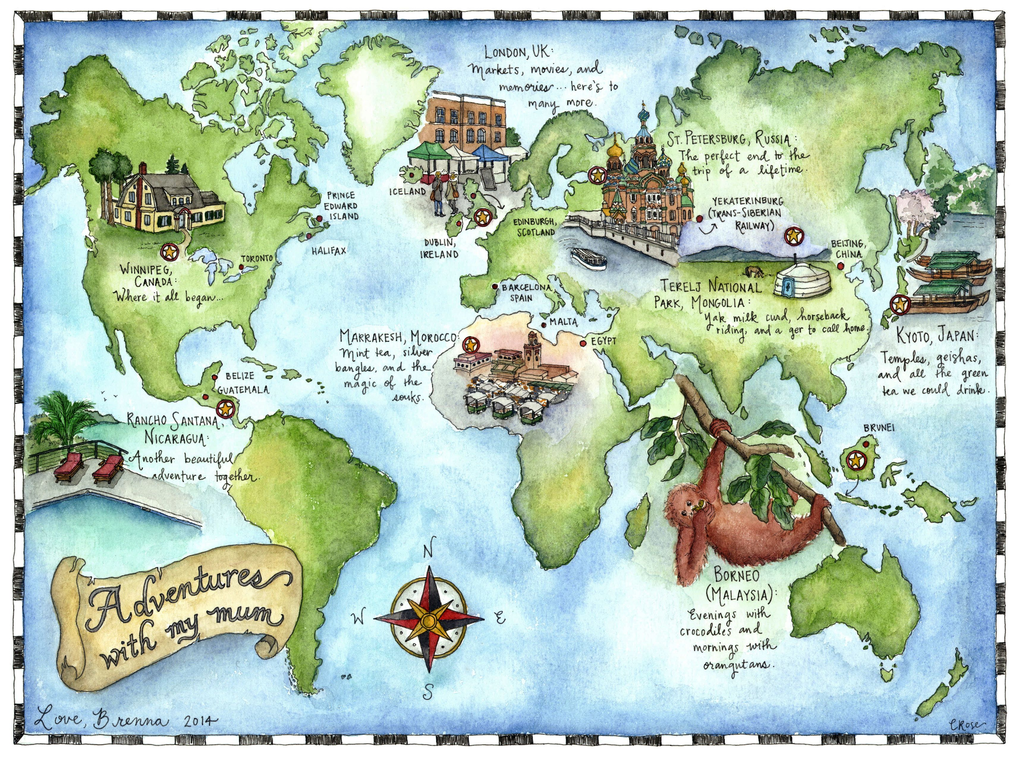 Mapbrennag 34282550 wanna be wanderer pinterest this hand drawn and illustrated world map was created using pen and watercolors for a personal client through my etsy shop gumiabroncs Gallery