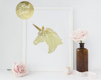 unicorn print, real gold foil print, wall decor, gold unicorn
