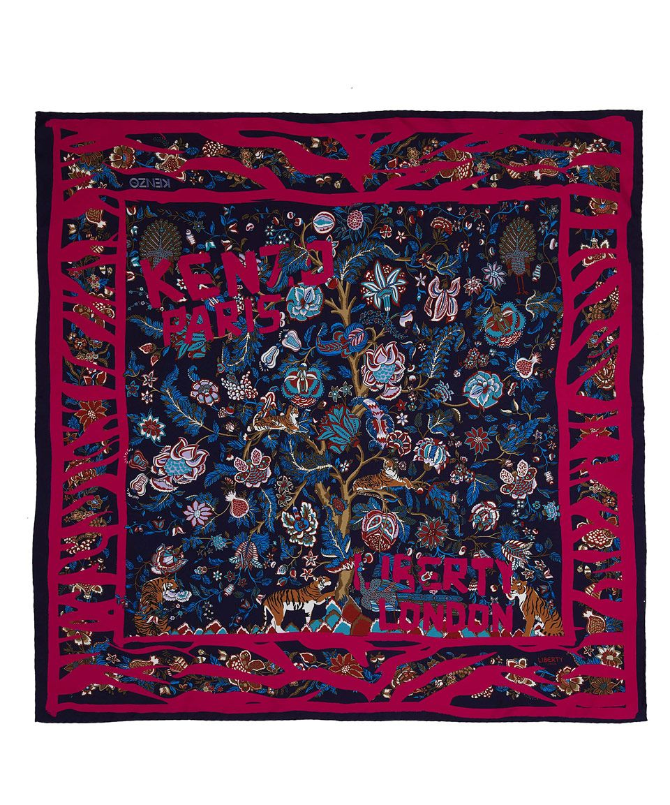 Kenzo for Liberty Navy Tiger Tree Of Life Silk Scarf   Scarves by Kenzo for  Liberty   Liberty.co.uk 8ebd40f387d