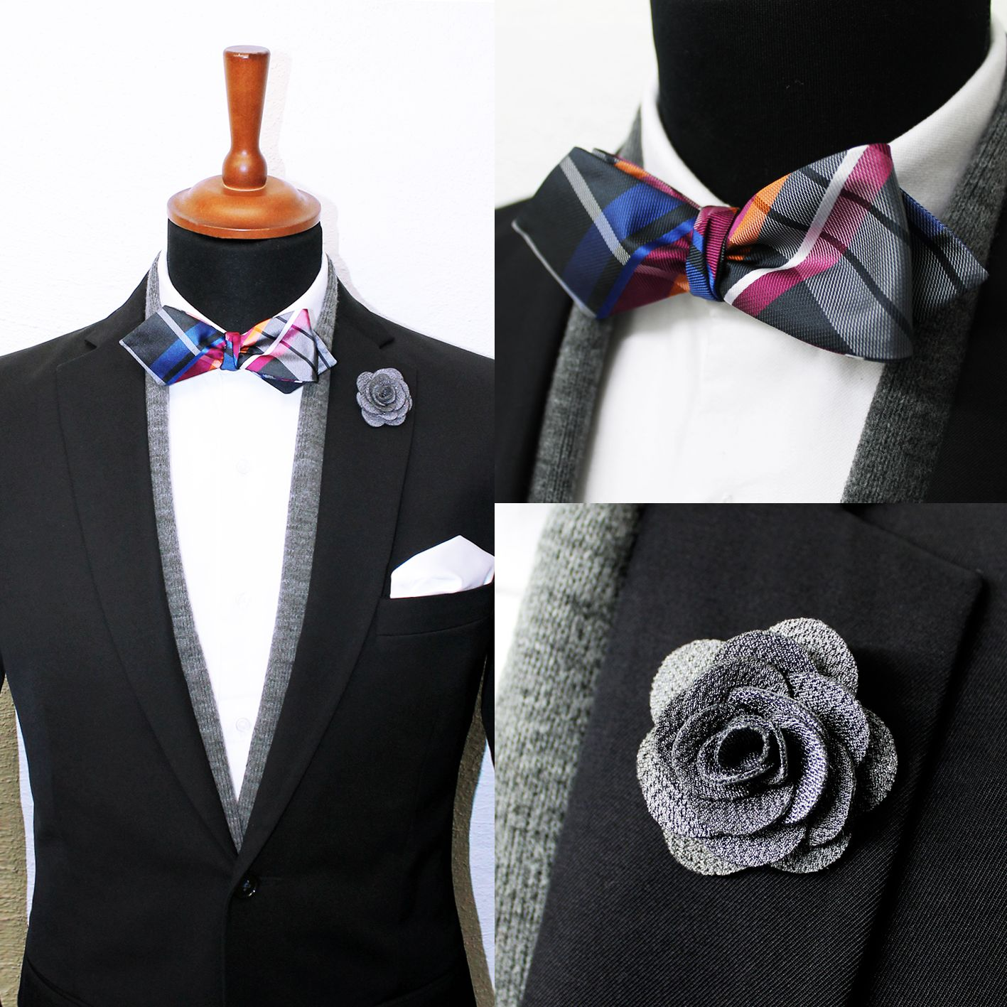 Monaco Check Diamond Bow Tie And A Grey Lapel Pin On Our