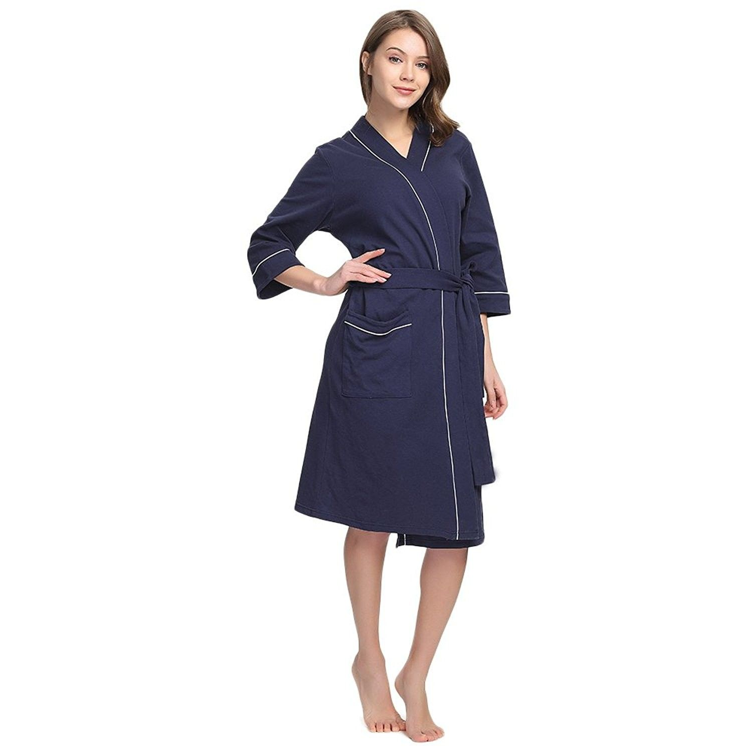 58814fa3e962 Womens Cotton Robe Soft Kimono Spa Knit Bathrobe Lightweight Long ...