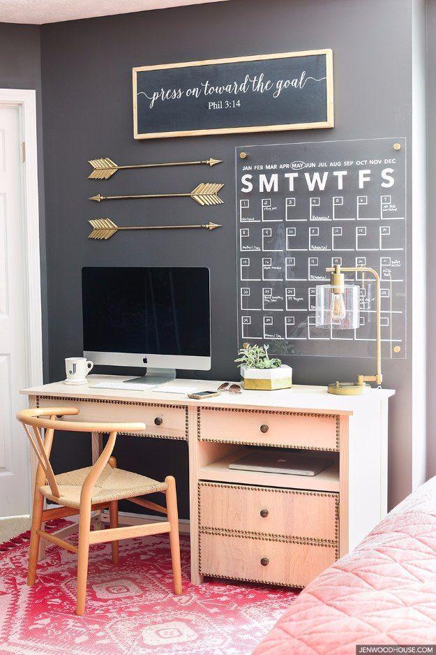 38 brilliant home office decor projects diy home office decor ideas stylish acrylic wall calendar do it yourself desks solutioingenieria Choice Image