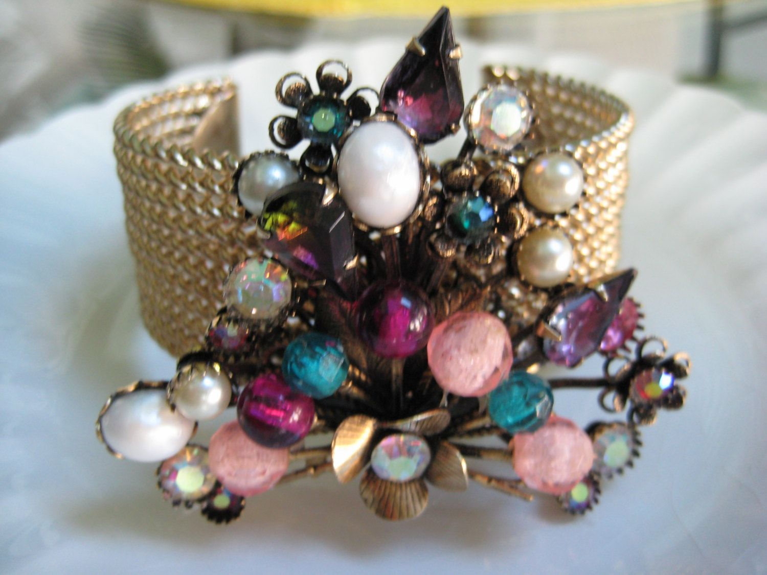 DV OOAK Vintage Brooch Bracelet, Cuff Bracelet, Multi Color Stones, Repurposed, Wedding, Bridesmaid, Repurposed by DragonflyVintiques on Etsy