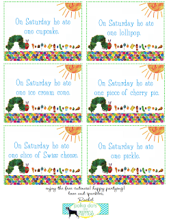 A blog with family fun and party ideas eric carle pinterest polkadots and puppies grants birthday party free printables for the vhc food labels bookmarktalkfo Image collections
