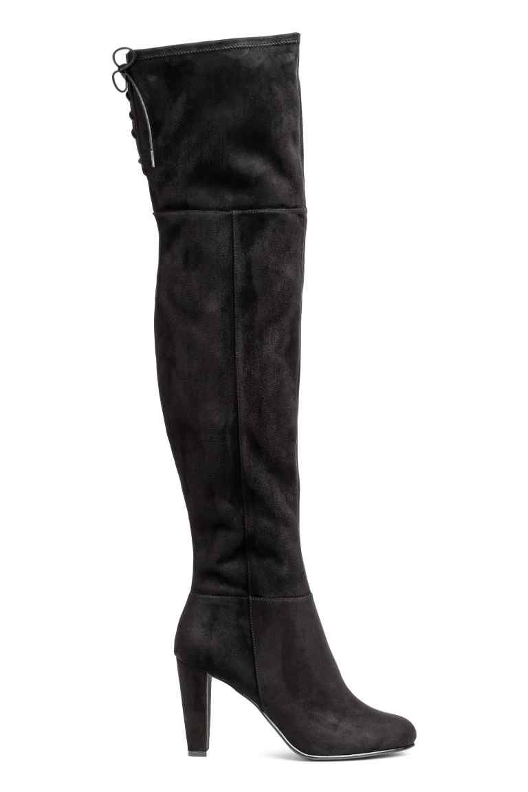 Kniehoge laarzen knee high boot black lady and high boots