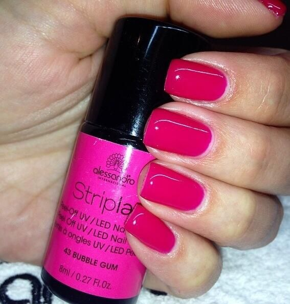 Bubble Gum Nail Art: Striplac 43 Bubble Gum #striplac