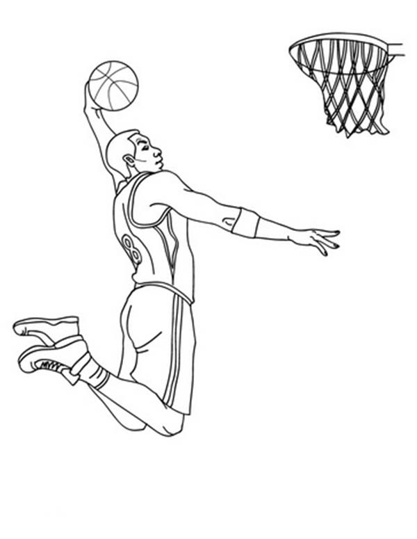 Nba Player Slam Dunk Coloring Page Color Luna Basketball Drawings Super Coloring Pages Basketball Art