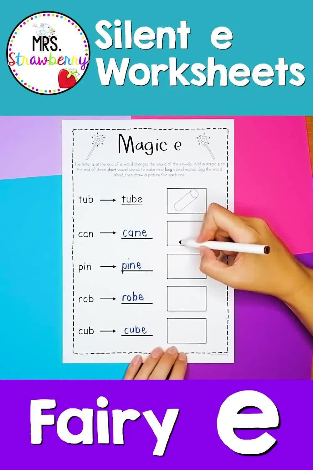 Magic E Silent E Worksheets For Primary Grades Video In 2021 Phonics Activities Teaching Phonics Words Containing Magic e rule worksheets