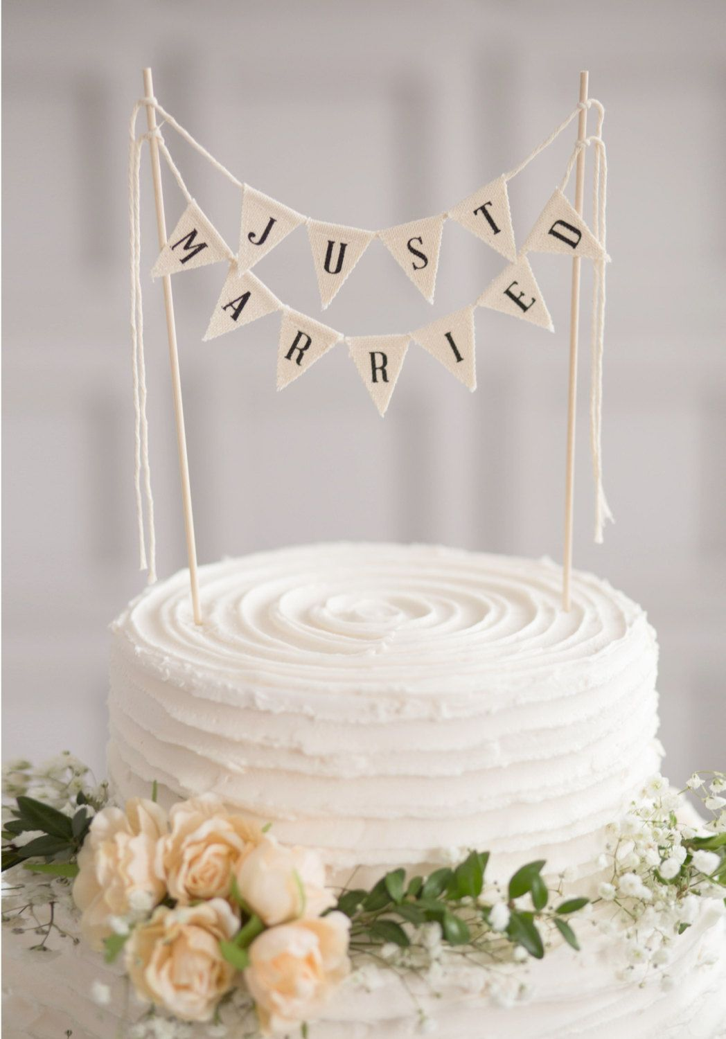 Just married wedding cake topper banner rustic wedding cake topper