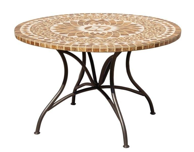 Outliv Maya Tisch O120 Cm Stahl Keramik Anthrazit Sand Tischplatte Rund Gartentisch Mosaik Tisch