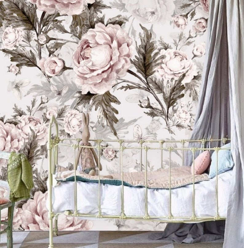 Remove Wall Paper Peel And Stick Wallpaper Floral Wall Mural Etsy Mural Wallpaper Wallpaper Large Floral Wallpaper