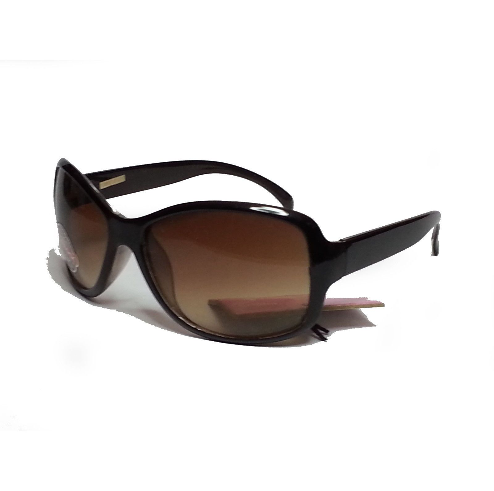 Foster Grant Womn Sunglasses Black Frame Brown Lens Oval Butterfly Style