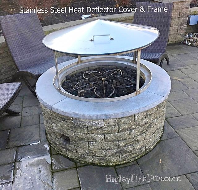 Stainless Steel Fire Pit Heat Deflector Gas Or Wood This Fire Pit Deflector Is Made Of All 304 Fire Pit Heat Deflector Fire Pit Heater Fire Pit Backyard Diy