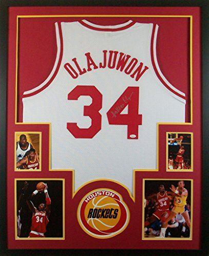 56a2155a2 Hakeem Olajuwon Framed Jersey Signed JSA COA Autographed Houston Rockets  Mister Mancave http