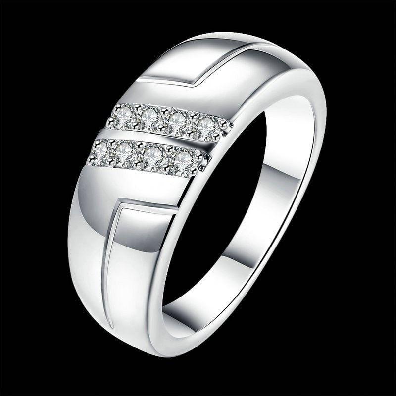Jenia Unisex Fashion Silver Color Jewelry Double Row Zirconia