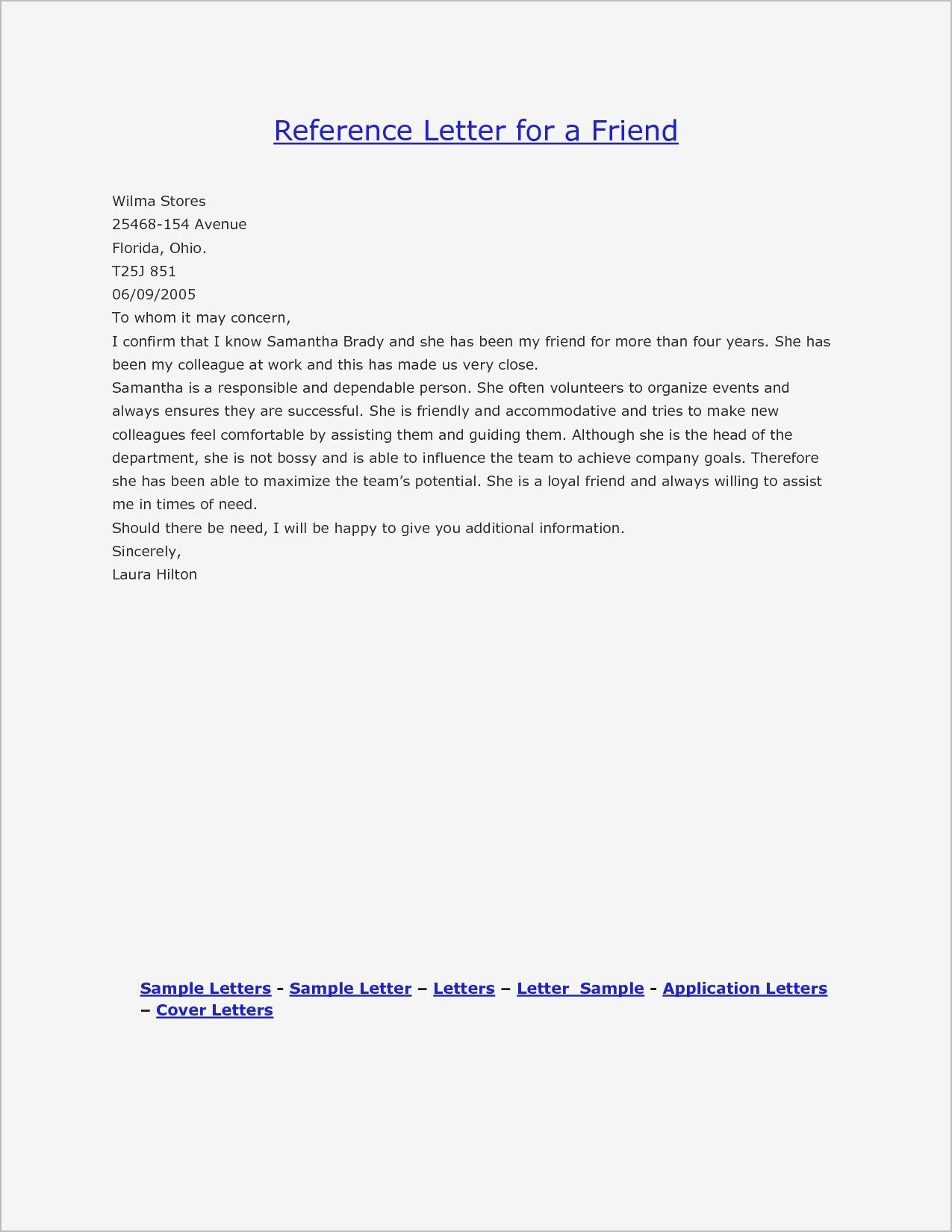 personal reference letter for a friend examples of reference letters example reference letter letter of