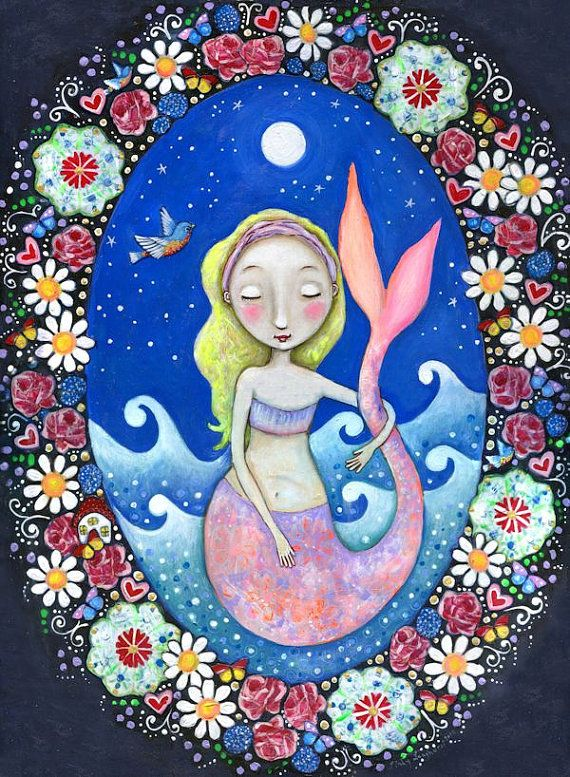 Mermaid art print whimsical folk art romantic wall decor women ...