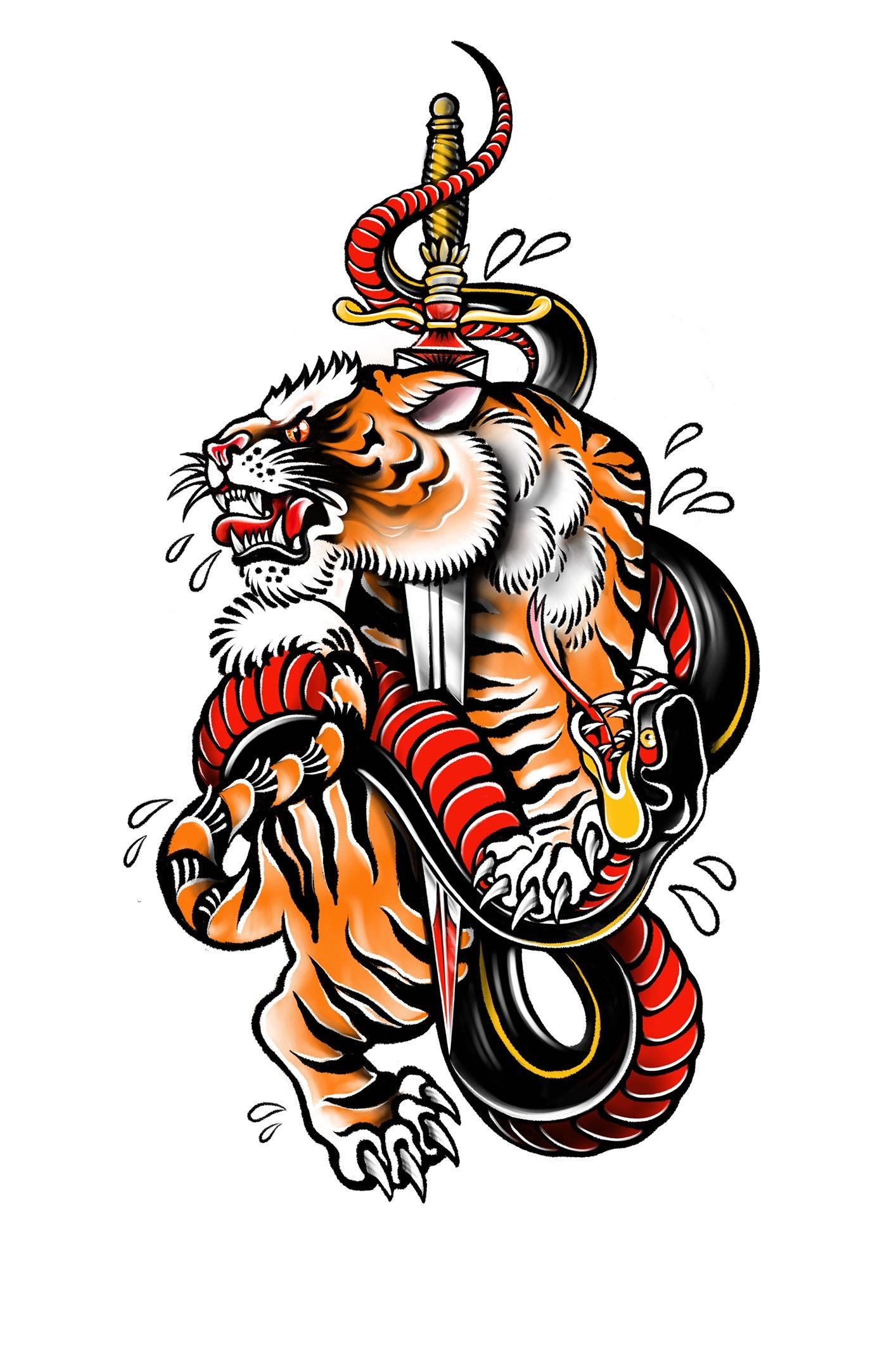 Traditional Tattoo On Behance Traditional Tiger Tattoo Traditional Tattoo Old School Tattoo Designs Tiger tattoo design wallpaper