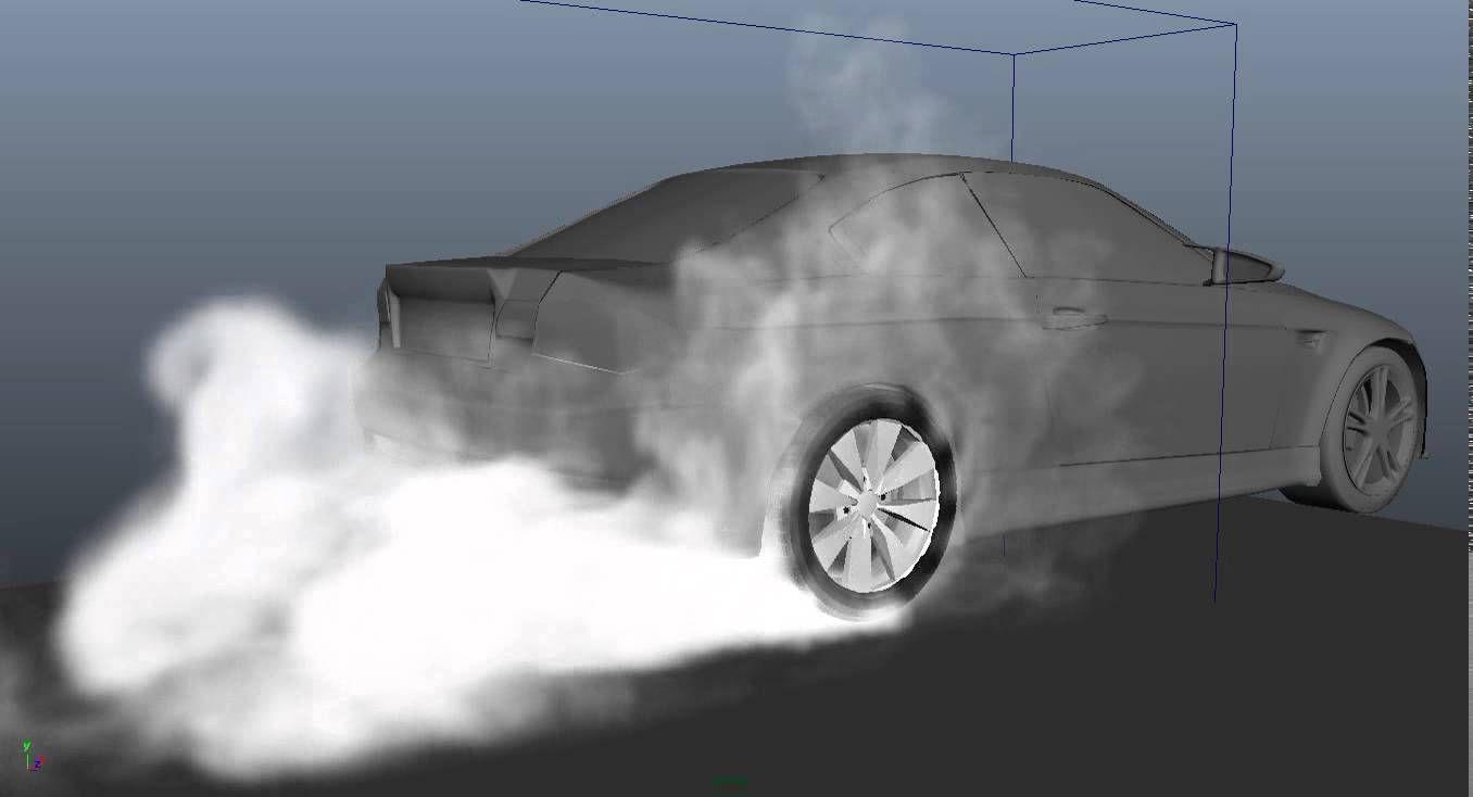 wheel smoke test (maya fluid)   Effects   Smoke testing
