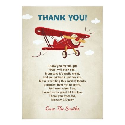 Airplane baby shower thank you card adventure airplane baby shower airplane baby shower thank you card adventure invitations custom unique diy personalize occasions negle Gallery