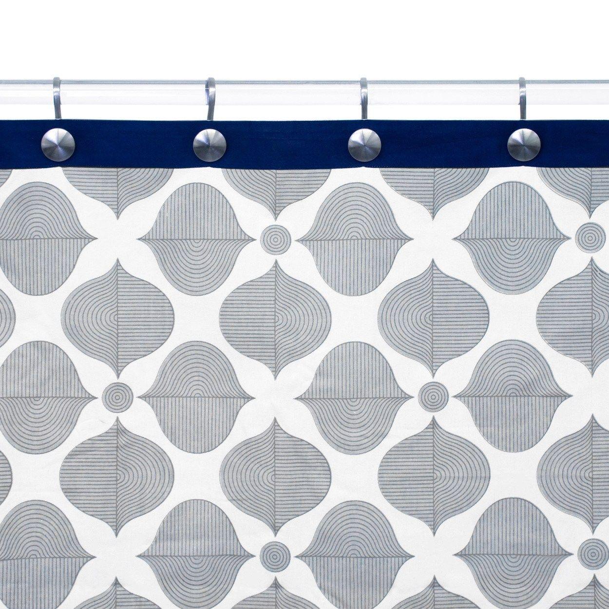 Style selections eva peva print multi fish shower curtain at lowes com - Jonathan Adler Hollywood Grey Navy Shower Curtain