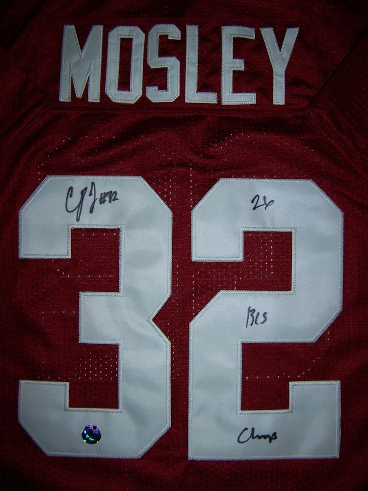 C.J. CJ MOSLEY RAVENS AUTO SIGNED CRIMSON ALABAMA JERSEY INSCRIBED ...