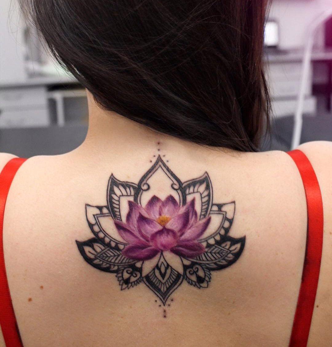 2017 06 lotus flower tattoo - Color Lotus Flower Black Mandala