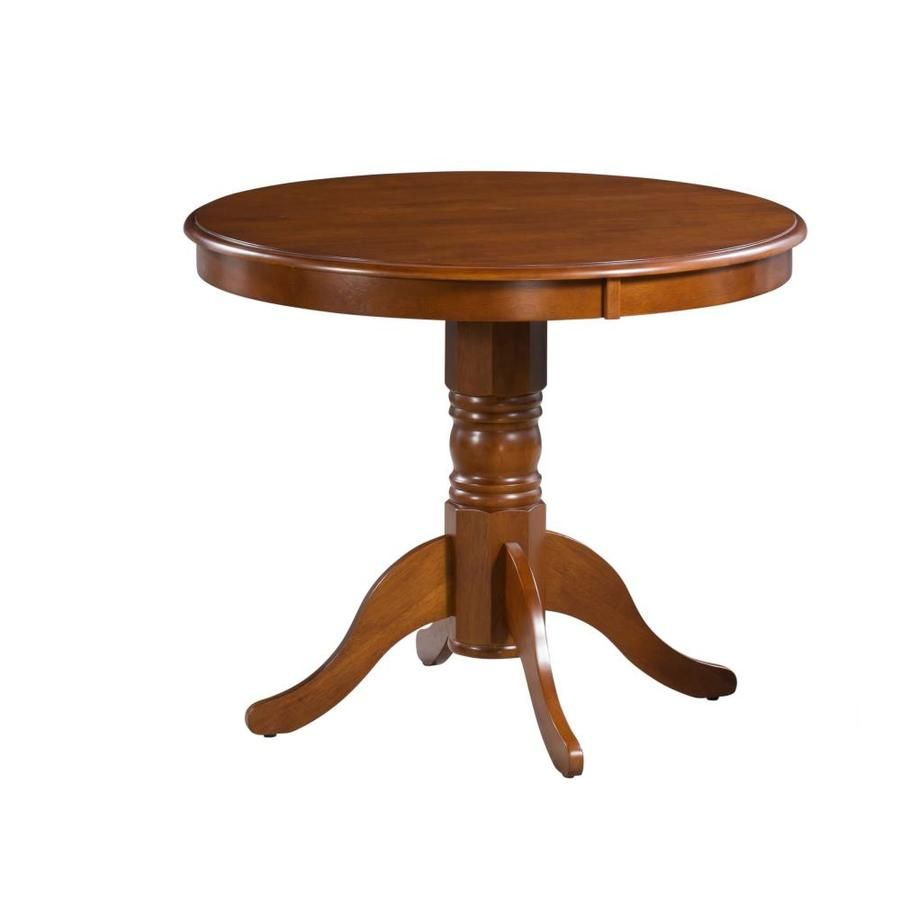 M D Furniture Brookline Saddle Brown Wood Round Dining Table Brt