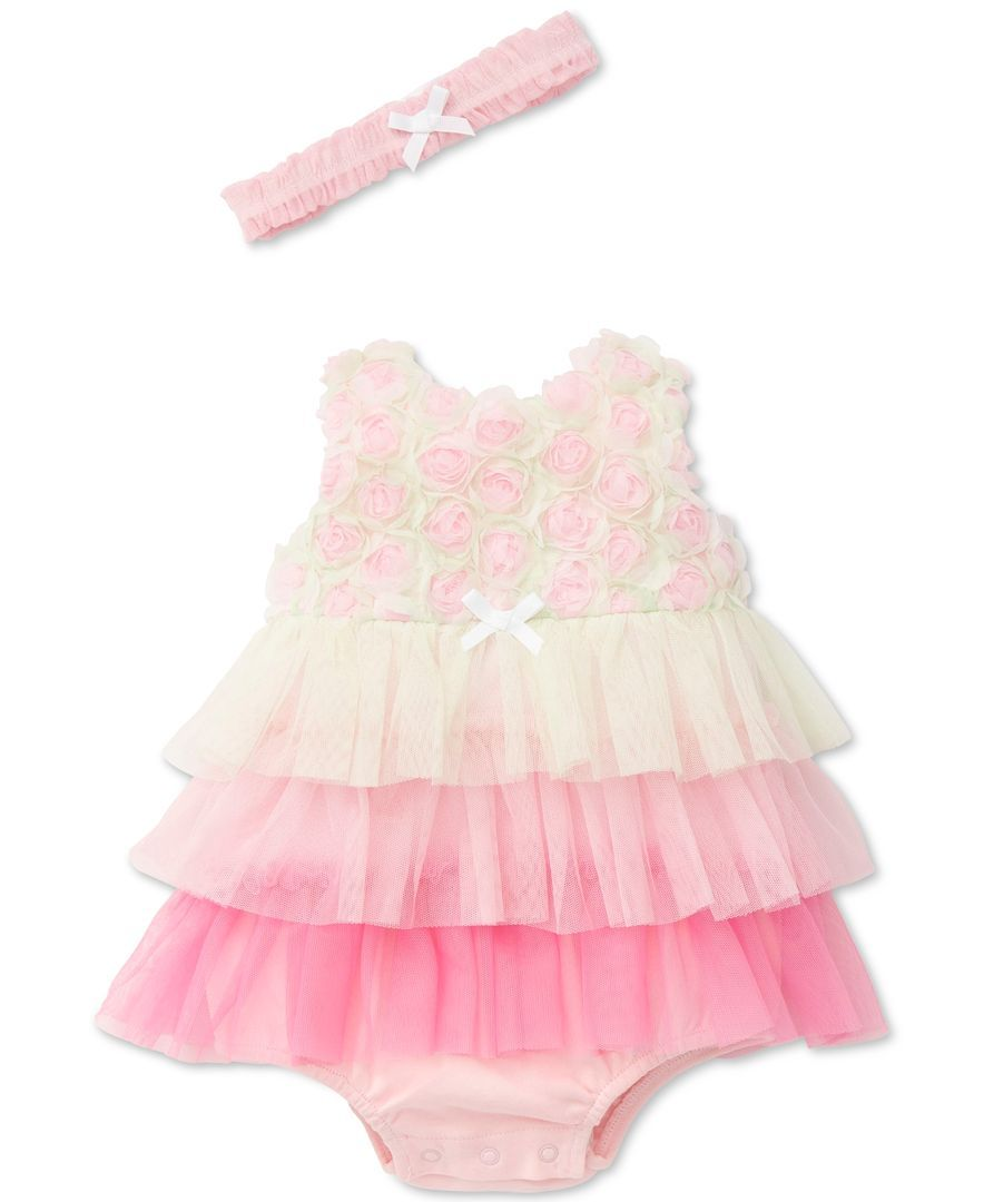 Little Me s newborn popover bodysuit piles on the pretty with layers of  soft mesh and dozens d6be4bb529b6