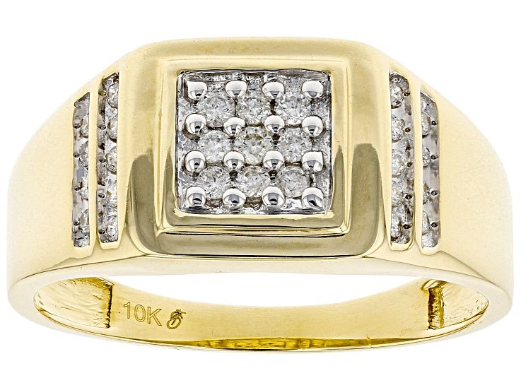 White Diamond 10k Yellow Gold Mens Ring 25ctw Gvi183 In 2020 Yellow Gold Mens Rings Rings For Men Gents Gold Ring